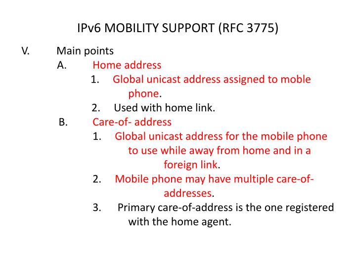 IPv6 MOBILITY SUPPORT (RFC 3775)