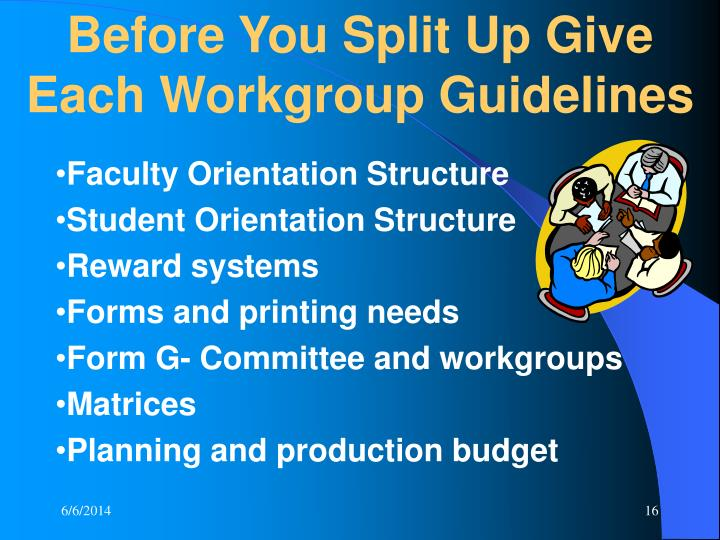 Before You Split Up Give Each Workgroup Guidelines