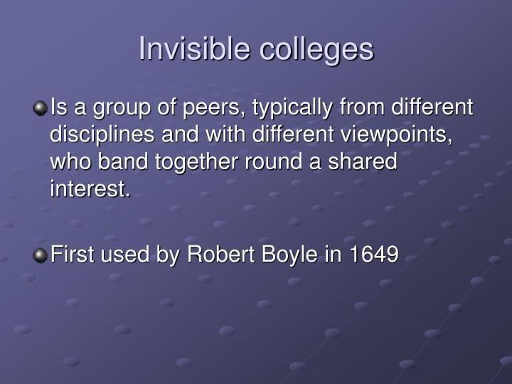 Invisible colleges
