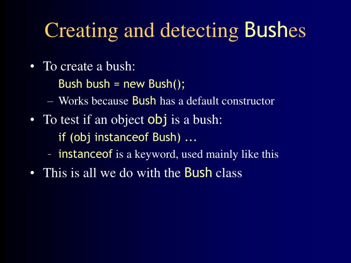 Creating and detecting