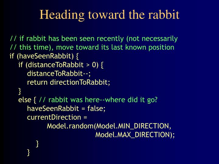 Heading toward the rabbit