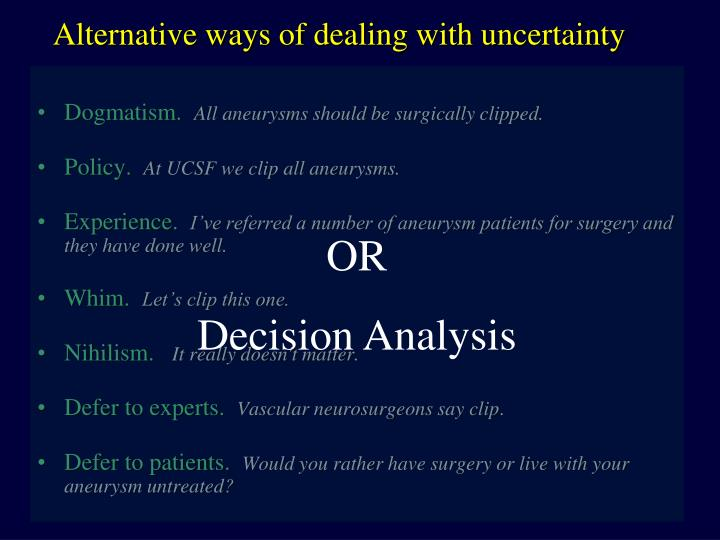 Alternative ways of dealing with uncertainty