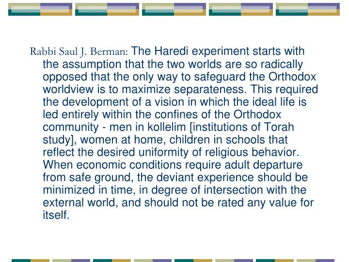 Rabbi Saul J. Berman: