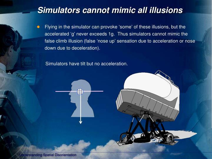 Simulators cannot mimic all illusions