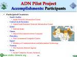 adn pilot project accomplishments participants