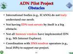 adn pilot project obstacles