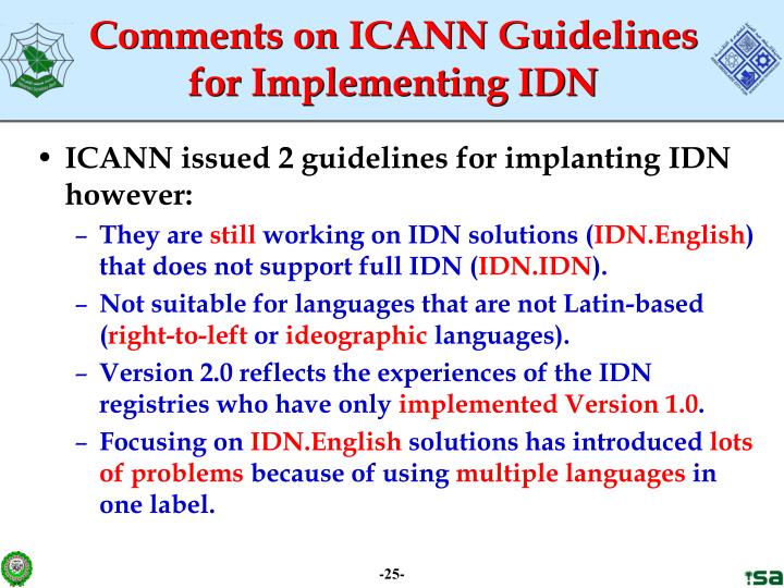 Comments on ICANN Guidelines for Implementing IDN