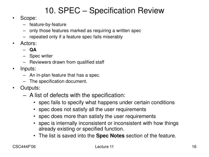 10. SPEC – Specification Review