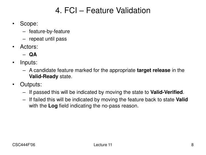 4. FCI – Feature Validation