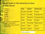 seven levels in the hierarchy of taxa subdivisions