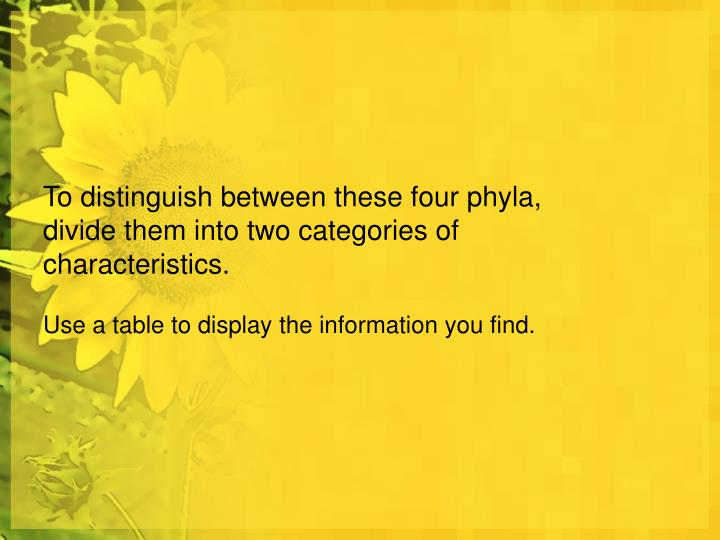 To distinguish between these four phyla, divide them into two categories of characteristics.