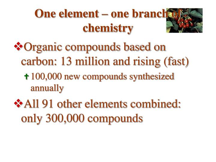 One element – one branch of chemistry