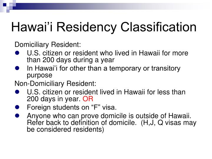 Hawai'i Residency Classification