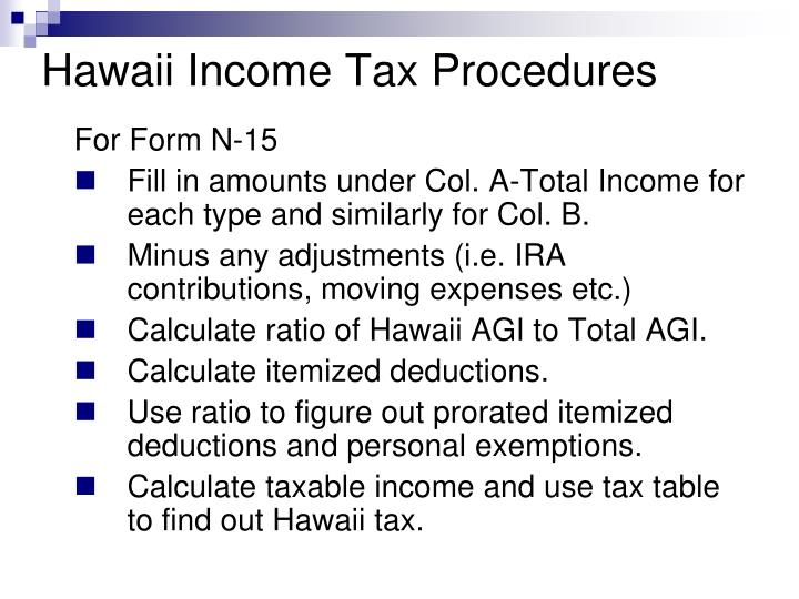 Hawaii Income Tax Procedures
