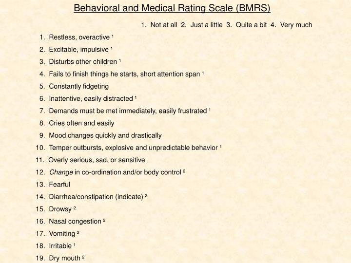 Behavioral and Medical Rating Scale (BMRS)