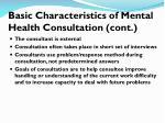 basic characteristics of mental health consultation cont