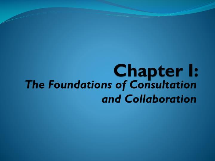 Chapter I: