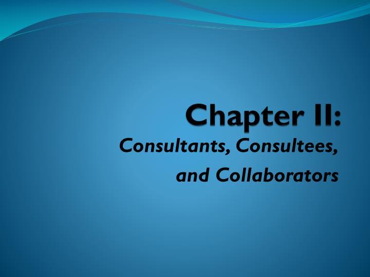 Chapter II: