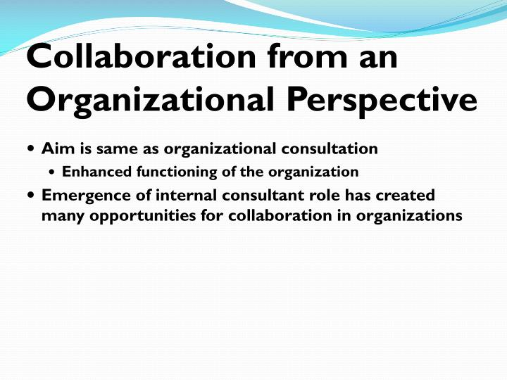 Collaboration from an Organizational Perspective