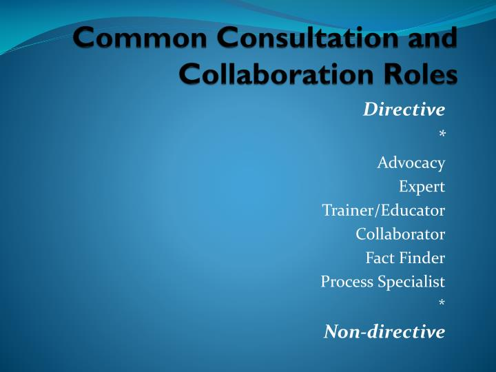 Common Consultation and Collaboration Roles