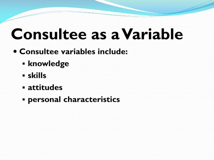 Consultee as a Variable