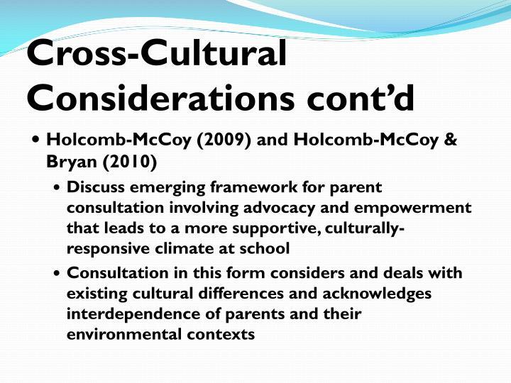Cross-Cultural Considerations cont'd