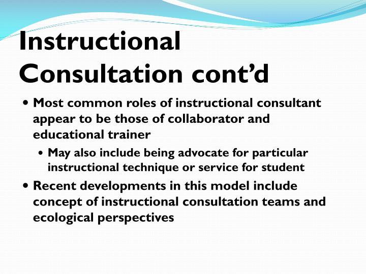 Instructional Consultation cont'd