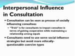 interpersonal influence in consultation