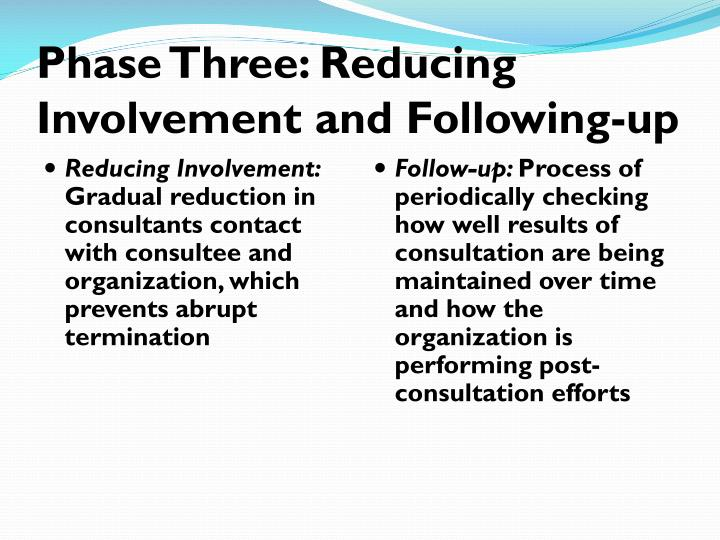 Phase Three: Reducing Involvement and Following-up