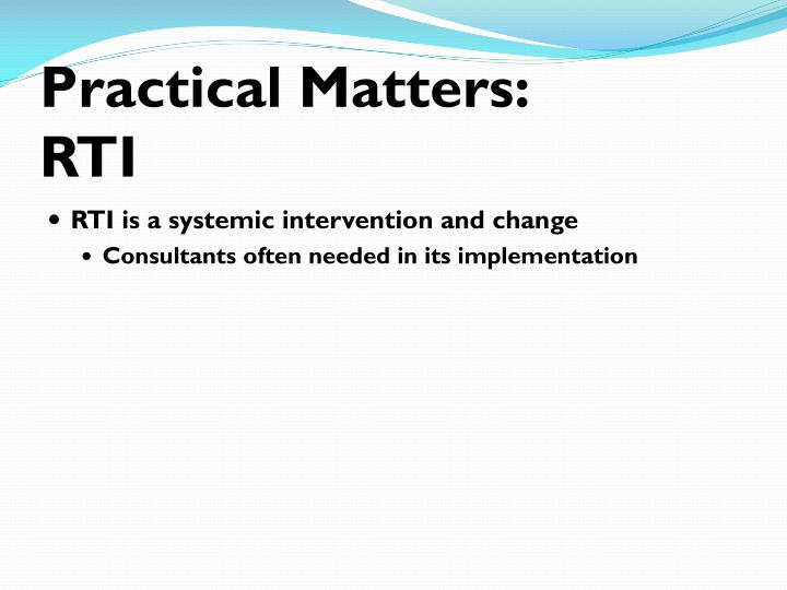 Practical Matters: