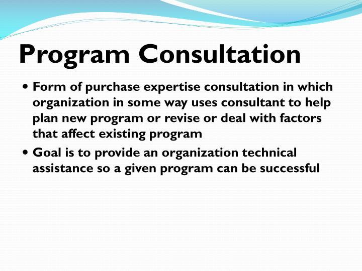 Program Consultation