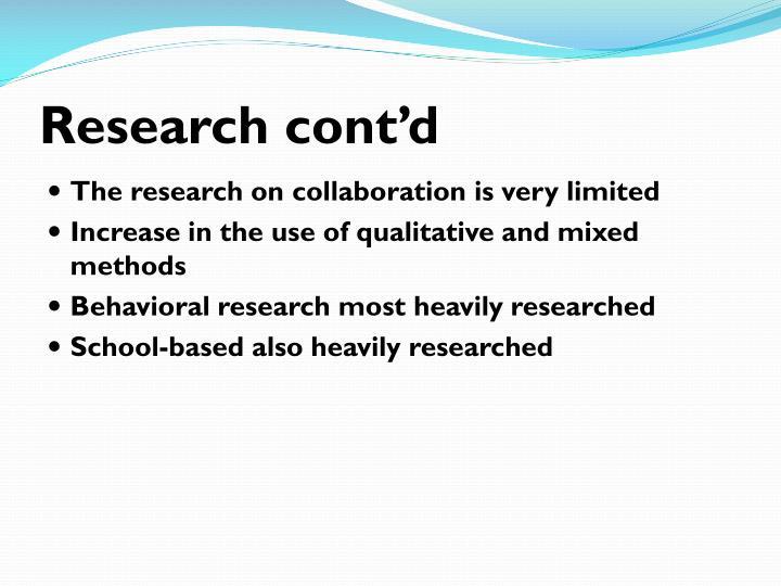 Research cont'd