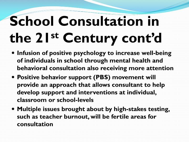 School Consultation in the 21