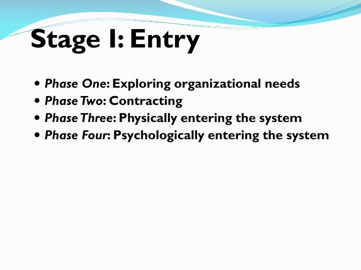 Stage I: Entry