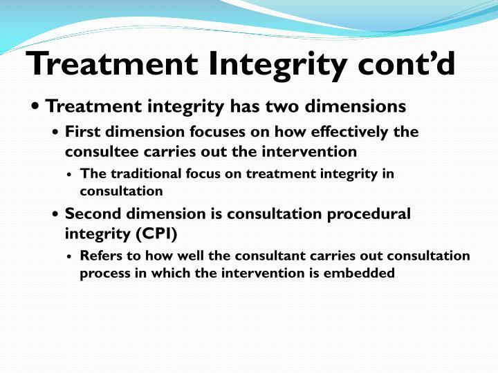 Treatment Integrity cont'd