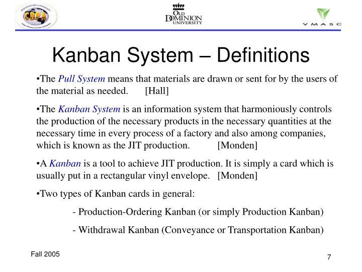 Kanban System – Definitions