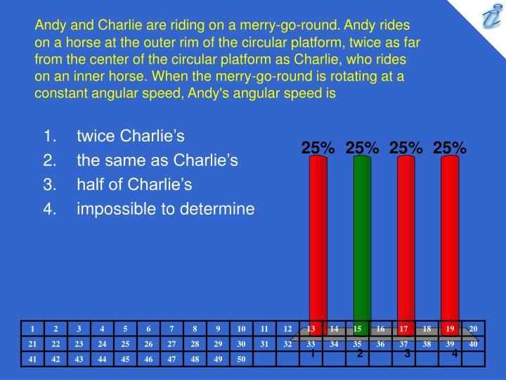 Andy and Charlie are riding on a merry-go-round. Andy rides on a horse at the outer rim of the circular platform, twice as far from the center of the circular platform as Charlie, who rides on an inner horse. When the merry-go-round is rotating at a constant angular speed, Andy's angular speed is