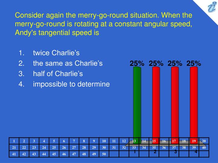 Consider again the merry-go-round situation. When the merry-go-round is rotating at a constant angular speed, Andy's tangential speed is
