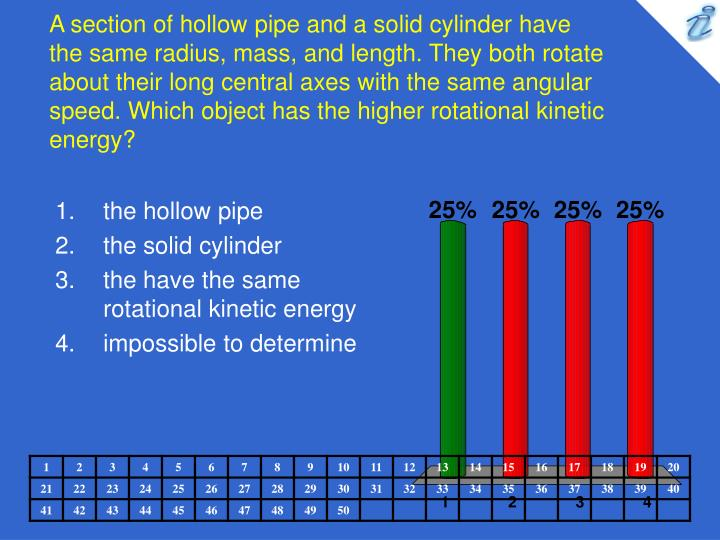 A section of hollow pipe and a solid cylinder have the same radius, mass, and length. They both rotate about their long central axes with the same angular speed. Which object has the higher rotational kinetic energy?