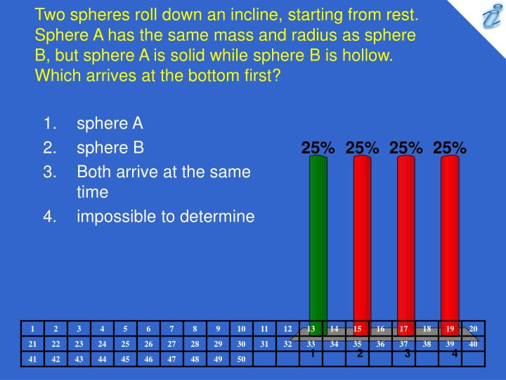 Two spheres roll down an incline, starting from rest. Sphere A has the same mass and radius as sphere B, but sphere A is solid while sphere B is hollow. Which arrives at the bottom first?