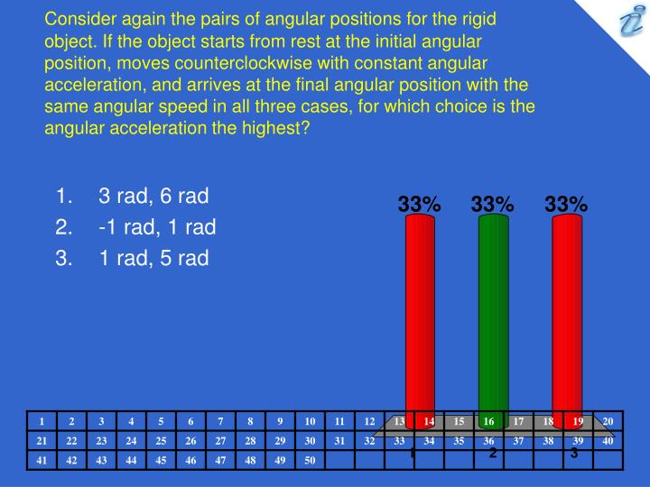 Consider again the pairs of angular positions for the rigid object. If the object starts from rest at the initial angular position, moves counterclockwise with constant angular acceleration, and arrives at the final angular position with the same angular speed in all three cases, for which choice is the angular acceleration the highest?