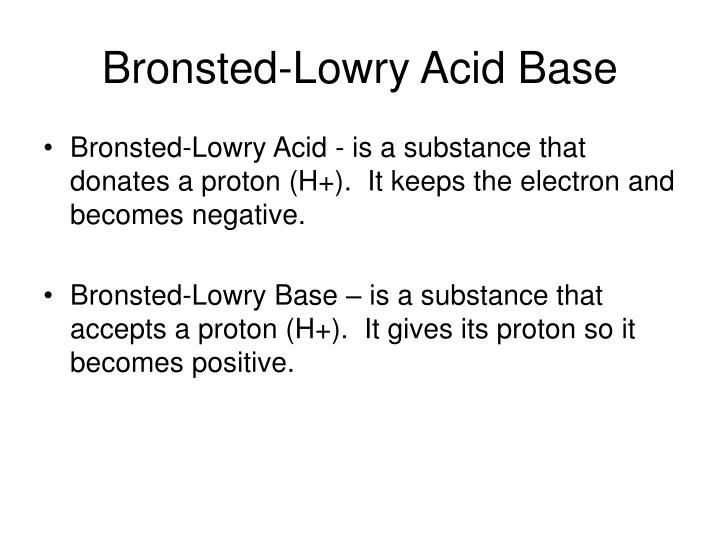 Bronsted-Lowry Acid Base