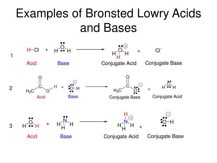 Examples of Bronsted Lowry Acids and Bases