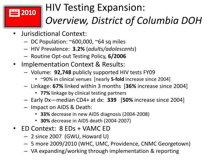 hiv testing expansion overview district of columbia doh