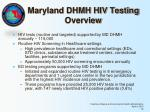 maryland dhmh hiv testing overview