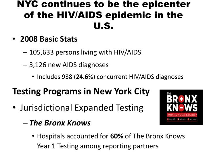 NYC continues to be the epicenter of the HIV/AIDS epidemic in the U.S.