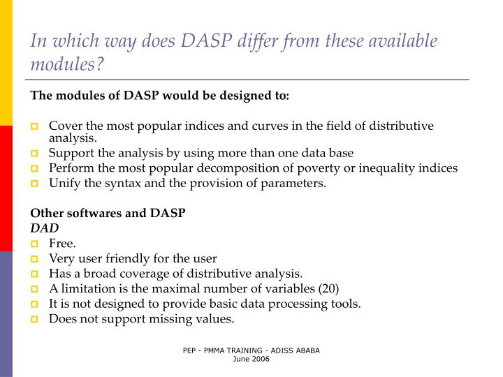 In which way does DASP differ from these available modules?