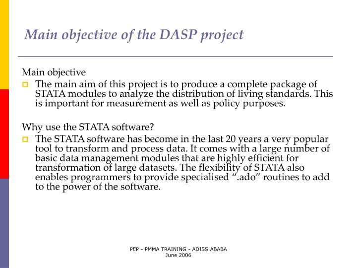 Main objective of the dasp project
