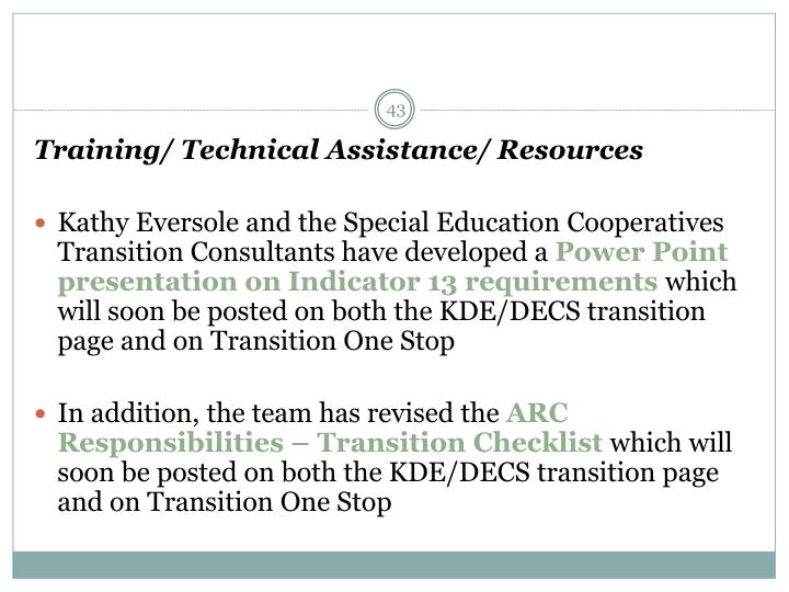 Training/ Technical Assistance/ Resources