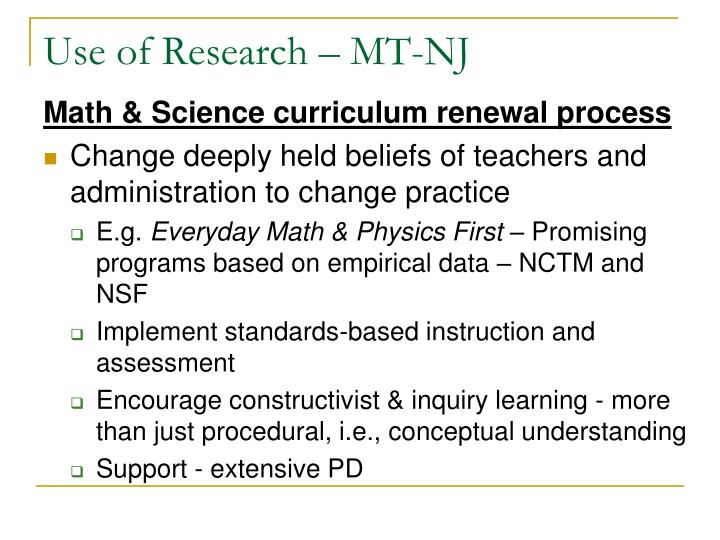 Use of Research – MT-NJ